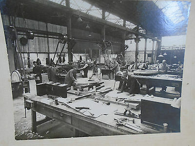 Old Matted B&W Photo Woodworking Shop Tool Pattern Makers At Work Occupational