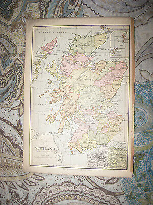 Antique 1880 Scotland Glasgow Edinburgh & London Industrial England Map Fine Nr
