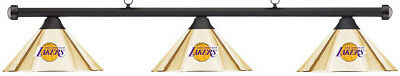 NBA LA Los Angeles Lakers Brass Metal Shade/Black Bar Billiard Pool Table Light