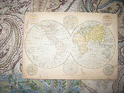 Antique 1880 Western Eastern Hemisphere World Map Polar Arctic North South Pole