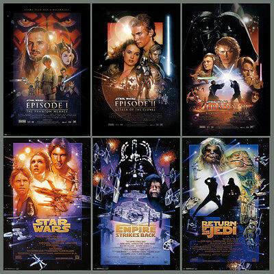STAR WARS EPISODE I-VI First Six Movie POSTERS Combo Set