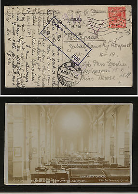 Great  Britain photo post card to  Russia  1916 nice markings           MS0721