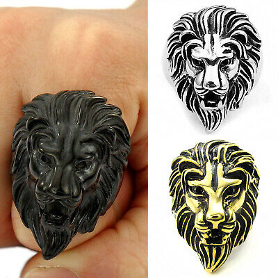 MENDINO Vintage Men's Stainless Steel Ring Lion Casting Animal Head Gothic Biker