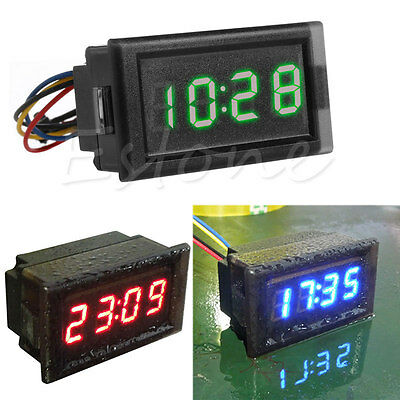 DC 12V Digital LED RGB Dashboard Waterproof Auto Clock Time for Car Motorcycle