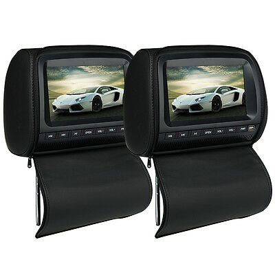"Beige Pair 9"" HD Car DVD LCD Monitor Player Headrest Pillow+Cover FM SD USB"
