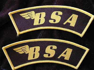2 superb quality new BSA gold / black CLOTH SEW ON shoulder BADGES english made