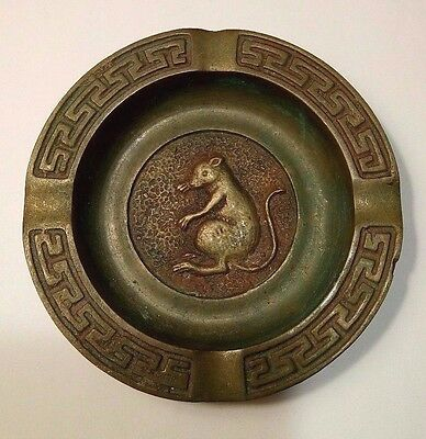 Art Deco Bronze Rat Decorated Ashtray W/Greek Key Border.