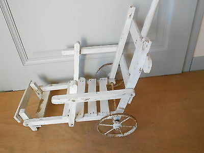 Antique french wooden white Stroller BABY Cradle CHARMING !