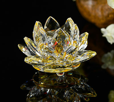 Feng Shui Yellow Crystal Glass Lotus Flower Natural Stone with box Home Decor
