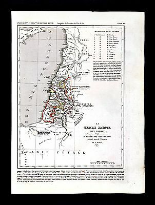 1849 Houze Map Holy Land Kingdom Solomon 12 Tribes Israel Palestine Jerusaleum