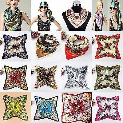 Women's Square Head Scarf Imitated Silk Satin Shawl 90*90 CM