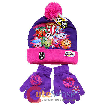 Shopkins Knitted Beanie Hat Gloves 2pc Set Purple Pink Girls Winter Cap