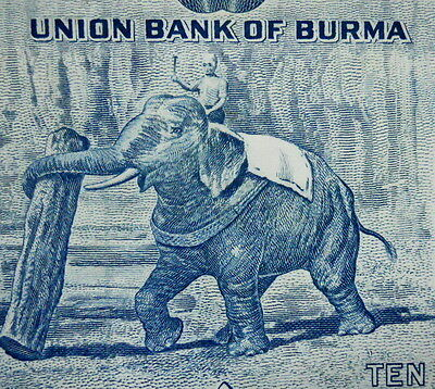 Elephant on Paper Money 1958 Burma Myanmar 10 Kyat Asian Currency Banknote