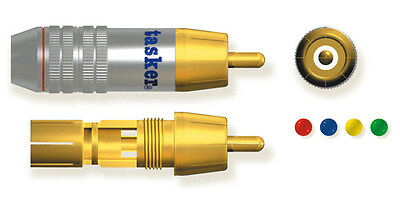 Tasker SP 59 RED Professional metal RCA Video plug, gold plated contacts UK