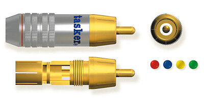 Tasker SP 59 BLU Professional metal RCA Video plug gold plated contacts 10pcs UK