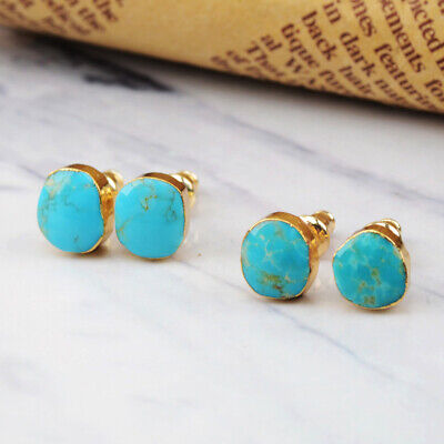 1Pair Freeform Natural Genuine Turquoise Gold Plated Edge Stud Earrings HG1017