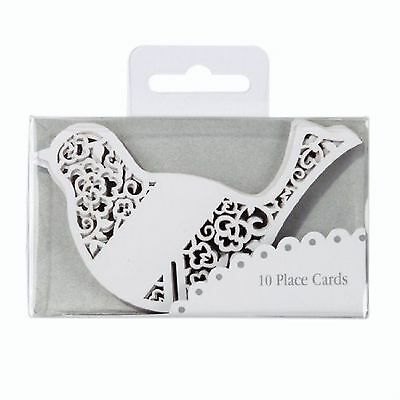 10 Beautiful Wedding Laser Cut White Glass Bird Place Cards From Talking Tables