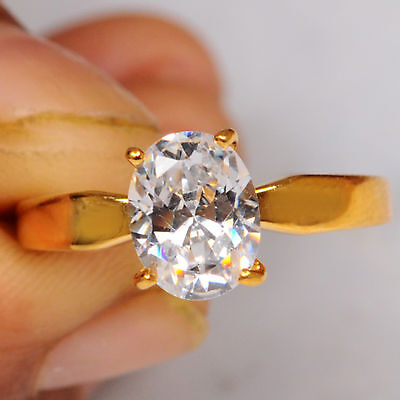 Oval Cut Real 14K Solid Yellow Gold 2.25 Carat  Solitaire Fine Engagement Ring
