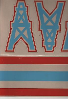 HOUSTON OILERS FULL SIZE FOOTBALL HELMET DECALS W//STRIPE