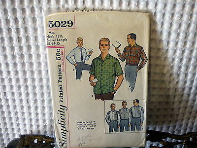 50s-60s Simplicity Mens shirt sewing pattern 5029 15.5 neck
