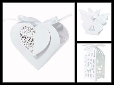 Talking Tables Wedding Pack of 10 White Favour Boxes with Ribbon & Tags