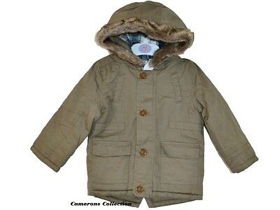 Ex-*andS Baby/Toddler Boys Hooded Winter Khaki Parka Coat  Ages 6 mths to 2 yrs