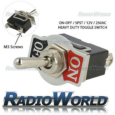 Heavy Duty Toggle Switch / Flick 12V ON/OFF Car Dash Light Metal 12 Volt SPST