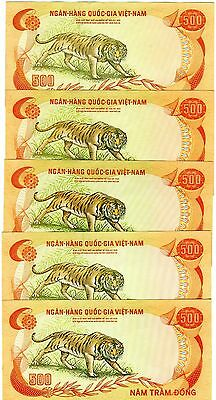 LOT Vietnam South, ND (1972) 5 x 500 dong, Pick 33, XF+ - aUNC --> TIGER