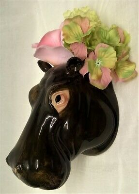 Quail Ceramic Hippo Head Wall Pocket Or Vase - Wildlife Animal Hippopotamus
