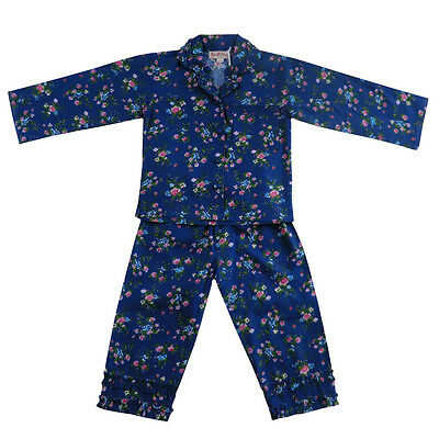 100% Cotton Longsleeve Pyjamas - Navy Blue Floral - Powell Craft - Ages 2-12