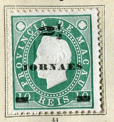MACAU;  1892 early Luis surcharge issue Mint hinged 2.5r surcharged value