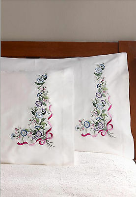Stamped Embroidery ~ Plaid / Bucilla Blue & Violet Pillowcases (2) #46127