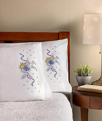 Stamped Embroidery ~ Plaid-Bucilla Doves w/Floral Bouquet Pillowcases (2) #46128