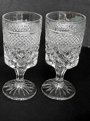2 Anchor Hocking Wexford Diamond Pint Pattern Water Goblets Stemmed Glasses