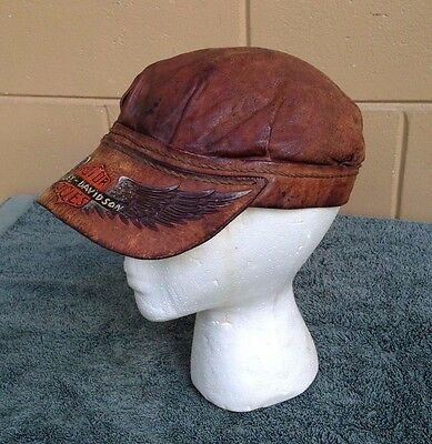 Harley-Davidson TOOLED Brown Leather Captains Cabby Hat  SIZE Medium   RARE