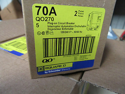 NEW Square D 70amp 2 pole 240-volt QO270 Plug-on Circuit Breaker