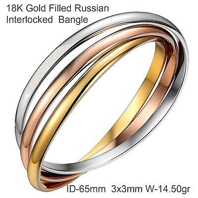A727 Genuine Real 18K Yellow Rose White G/f Gold Russian Style Bangle Bracelet
