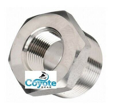 "Class 3000 PSI 1/2"" Male x 1/4"" Female 304 Stainless Steel Hex Reducer Bushing"