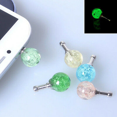 3.5mm Luminous Crystal Anti Dust Cap Earphone Jack Plug Stopper For Cell Phone