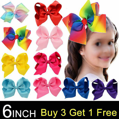 6 Inch Big Bows Boutique Hair Clip Pin Alligator Clips Grosgrain Ribbon Girlbow