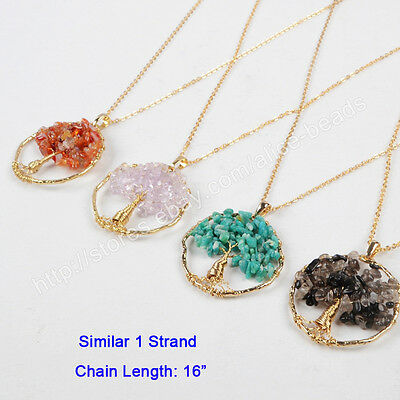 1Pcs Chakra Healing Natural Gems Chips Wire Wrap Tree Of Life Necklace HWX047-N