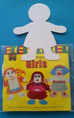 Free Post 24 x Girls Glossy Cardboard Fun Shapes Card Cut outs Kids Craft