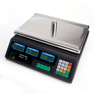 Digital Weight Scale Price Computing Food Meat Produce Deli Market 40kg