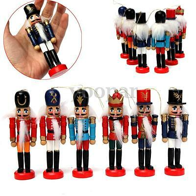 6pcs Set of 12cm Wooden Nutcracker Soldier Toy Walnut Puppet Gifts Home Display