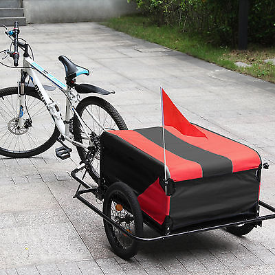 Lightweight Folding Black / Red Bike Cargo Dog Pet Bicycle Trailer carries 100Kg