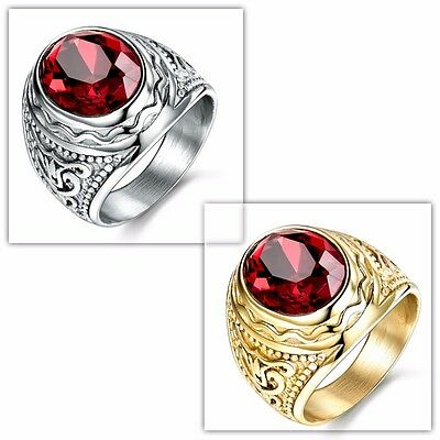 Silver/Gold Tone Stainless Steel Red Garnet Ring Jewelry Gift For Men Size 8-12