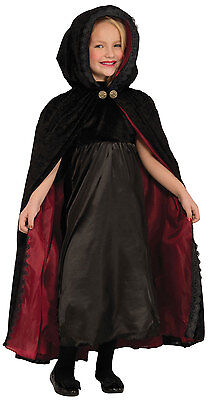 Girls Black Hooded Cape Vampire Fancy Dress Halloween Witch Costume Outfit 5-9