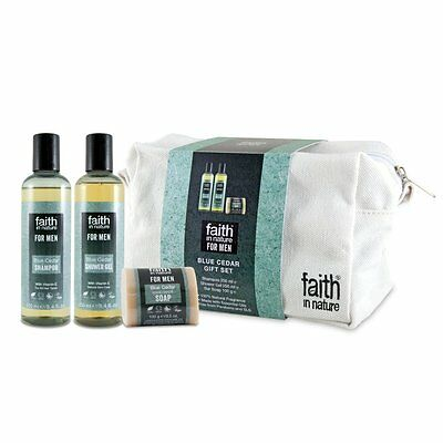 Faith In Nature Blue Cedar Shower Gel & Hand Wash Wash Bag Christmas Gift Set