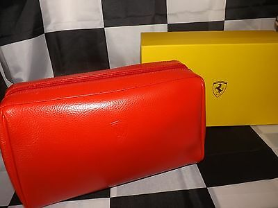 New Boxed Official Scuderia Ferrari Schedoni Leather Wash Toilette Bag Red