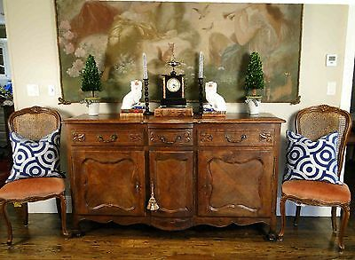 Antique French Country Louis XV Buffet Sideboard Server 3 Door Carved Oak